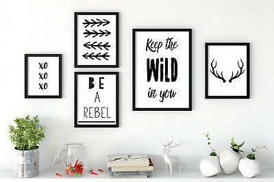 Set of 5 Art Prints Wild In You Be A Rebel Kids Room Black & White Gallery Wall