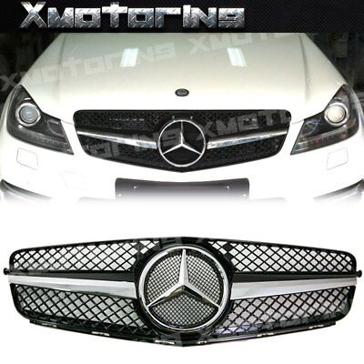 For 08-14 BENZ W204 C250 C300 C350 Sedan As SL Look Fin Front Grille Gloss Black