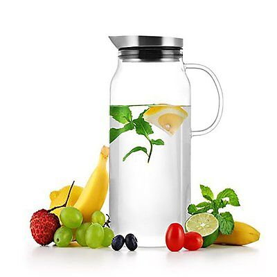 SAMA Borosilicate Glass Water Carafe Ice Tea Pitcher with Stainless Steel Lid
