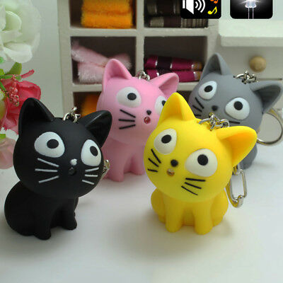 Cute Cheese Cat Keychain With Meow Sound Led