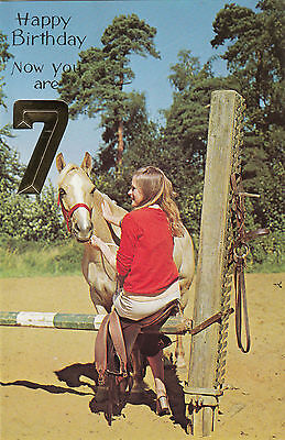 Vintage 1970s Happy 7th Birthday Greeting Card 7 Years Old Horse Riding