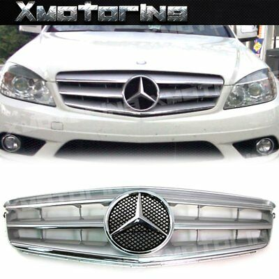 For 08-14 M BENZ W204 C250 C300 C350 4Dr OE Look Front Grille Chrome Silver Mesh