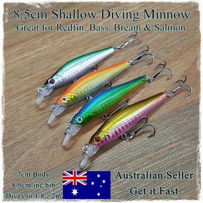 4 Redfin & Bream Fishing Lures, Trout, Yellowbelly, Flathead, Bass, Perch, 8.5cm