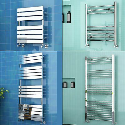 Modern Curved Straight Flat Towel Rail Radiator Chrome Heated Rad 600-1800mm