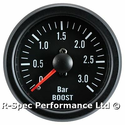 3 Bar Turbo Diesel 52mm Black Face Mechanical Boost Pressure Gauge - Tdi Td Dt