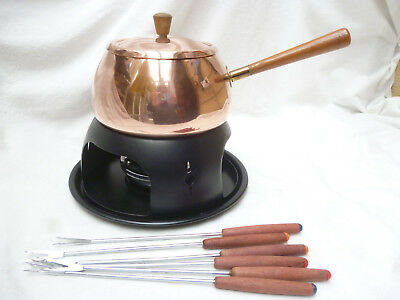 RETRO 1970s POLISHED COPPER FONDUE POT with burner, stand & forks - vg condition
