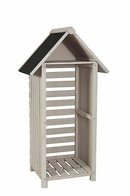 Sentry Box Wooden Garden  Log Store - STONE GREY