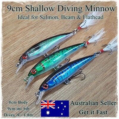 3 Salmon & Bream Fishing Lures, Trout, Bass, Yellowbelly, Flathead, Perch, 8.5cm