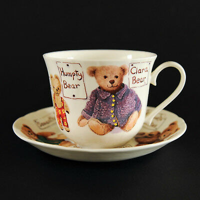 Vintage Roy Kirkham Bone China Lrg. Cup & Saucer - My Favorite Teddies 1997