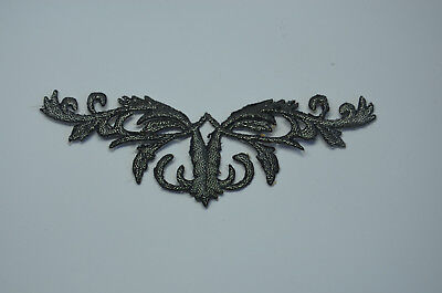 2x ORNATE BAROQUE SILVER GREY TRIMMING Embroidered Sew Iron On Cloth APPLIQUE
