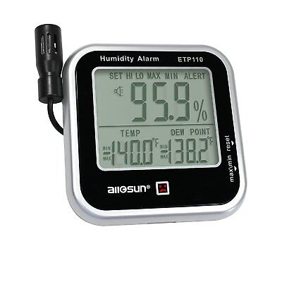 all-sun Digital Thermo-hygrometer with Humidity Alarm & Remote Probe/ Humidity /