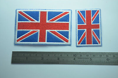 2x BRITISH GB UK UNION JACK FLAG Embroidered Sew Iron On Cloth Patch Badge