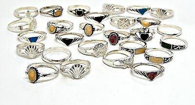 Wholesale 27 Pc Lot 48 grams 925 Sterling Silver Rings Sizes 3-3/4 to 4-1/2
