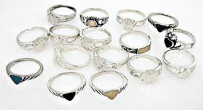 Wholesale 16 Pc Lot 30 grams 925 Sterling Silver Rings Sizes 3-1/4 TO 3-1/2