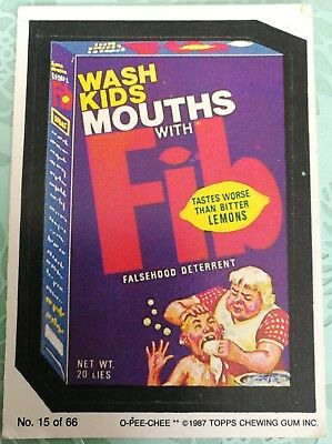 Wacky Packages Topps Wash Kids Mouths With Fib Card #15 1987 O-PEE-CHEE