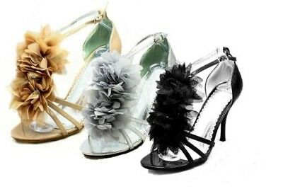 Ladies satin ruffled front strappy high heel sandals / shoes