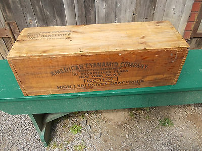 Vintage American Cyanamid Dynamite Dovetailed Wood Box / Shipping Crate New York