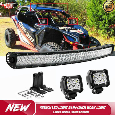 "42"" Curved LED Light Bar Combo Beam+2x 4"" Pods+Wiring Kit for 2017 CAN-AM X3/MAX"