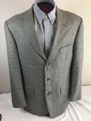Brooks Brothers Sport Coat, 44L, Olive Houndstooth, 3 Button, 100% Wool