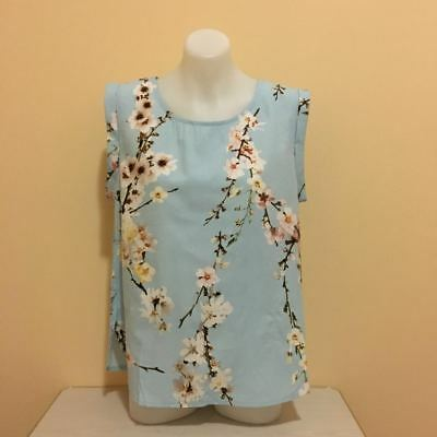 Women Ladies Blue Hem Sleeve Summer Tops Casual Basic Blouse with Floral Print