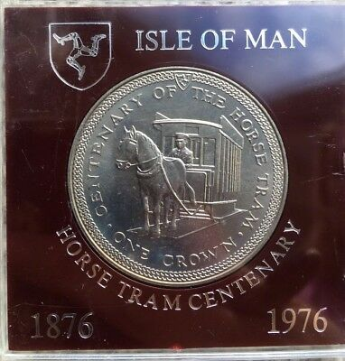 Isle Of Man IOM Manx Horse Tram Centenary Uncirculated Boxed Crown 1976