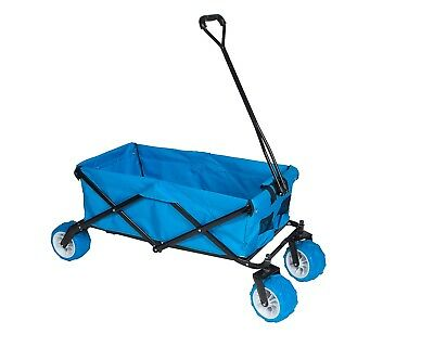 Folding Heavy Duty Big Wheel Garden Cart Trolley 4 Wheel Truck Wagon- Blue