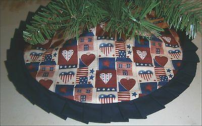 "Tabletop Patriotic/ Fourth of July Tree Skirt ~  24"" Americana ~ Handcrafted"