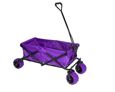 Folding Heavy Duty Big Wheel Garden Cart Trolley 4 Wheel Truck Wagon- Purple