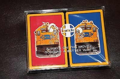 Santa Fe Railroad Double Deck Playing Cards Sealed w/Case  Engine 5696