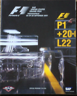 SAP United States Grand Prix Programme , Indianapolis 28-29-30 September 2001