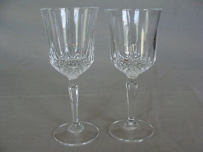 2 Cristal D'Arques-Durand Crystal Stemmed 6 oz. Water Goblets, Diamant Pattern