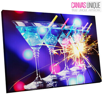 AB835 Blue Cocktail Night Modern Abstract Canvas Wall Art Framed Picture Print
