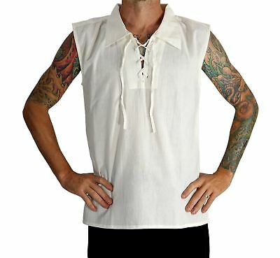 'Rogue' Medieval Sleeveless Shirt - Pointed Collar, Cream