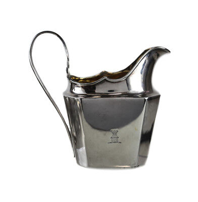"Irish Dublin Sterling Silver Creamer, 18th Century. Marked ""SW"". Castle Crest"