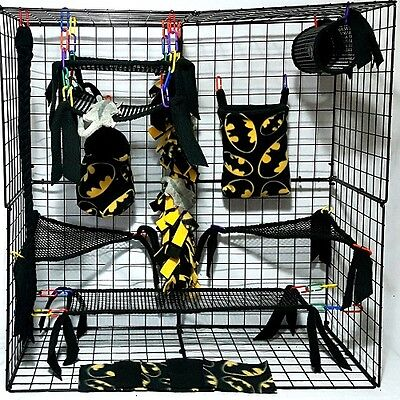 Batman * 15 PC open weave Sugar Glider Cage set *Rat * double layer Fleece