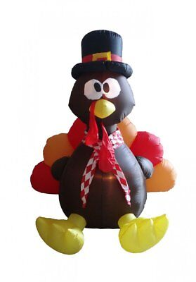 6 Foot Thanksgiving Inflatable Turkey Indoor Outdoor Weather Resistant Polyester