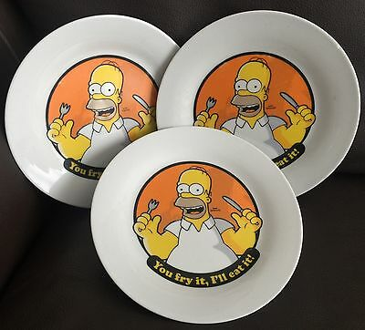 """3 Signed Collectable Official 20th Century Fox Films 7"""" (18cm) Simpsons Plates"""