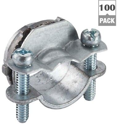 (100-Pack) Halex 3/8 in. Non-Metallic Twin Two Screw Romex Clamp Connectors New