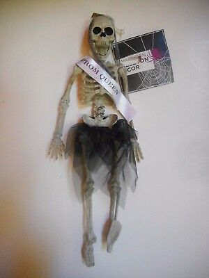 """Prom Queen Halloween 16"""" Poseable Hanging Plastic Skeleton Decoration New"""