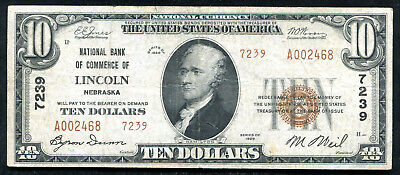 1929 $10 Tyii Nb Of Commerce Of Lincoln, Ne National Currency Ch. #7239