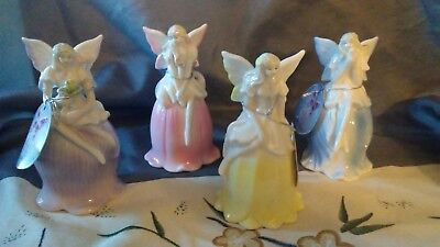 Lot Of 4 Fairy Porclein Bells Euc