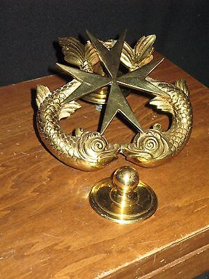 Two Dolphin & Nautical Star Heavy Solid Brass Door Knocker