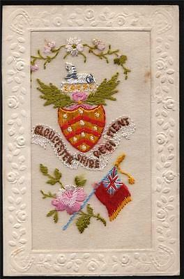Silk.military Gloucestershire Regiment Old Postcard.1914-19