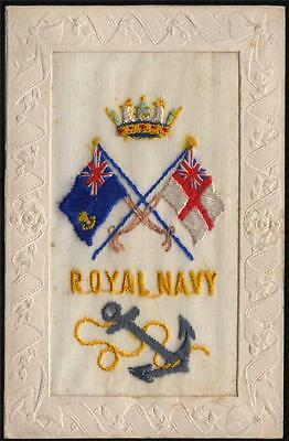 Silk Military The Royal Navy . Old Postcard.1914-19