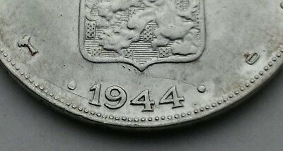 Curacao 1 Gulden 1944D. KM#45. .720 Silver One Dollar coin. Palm Privy Mark.