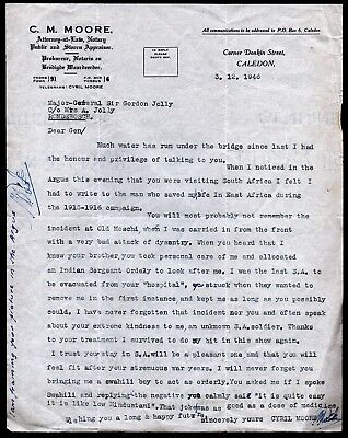 Memoir & Letter South African Veteran East Africa Campaign 1915-16 to Life Saver
