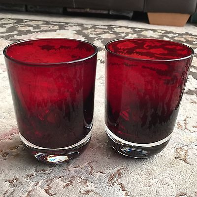 "Pair of Superb Vintage Heavy Based 5"" Tall English Ruby Red Glass Drink Tumblers"