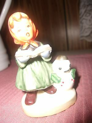 "Vintage Girl Napcoware Japan Z8366 3 1/2"" Singing Girl Child With Snowman"