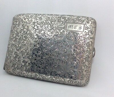 Vintage 950 Sterling Silver Hand Chased Cigarette Case Antique Repousse 124 Gym