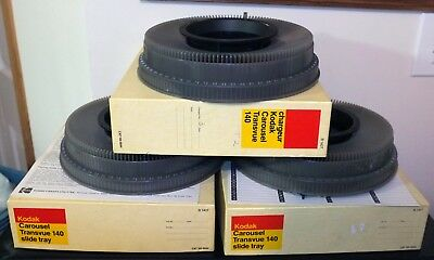 Kodak Carousel Transvue 140 Slide Trays, Three, Boxes and Instructions
